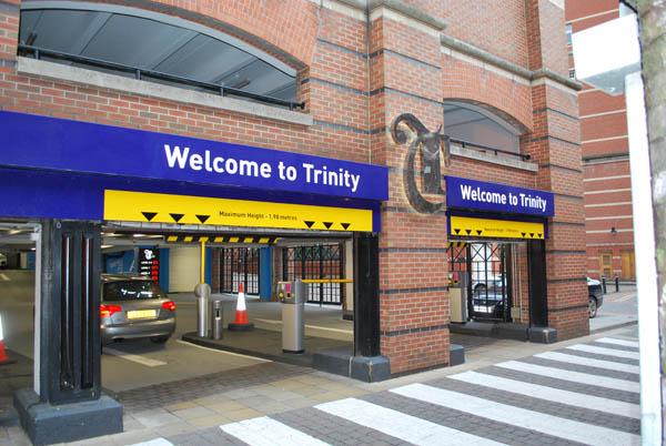 Entrance to Trinity Leeds car park