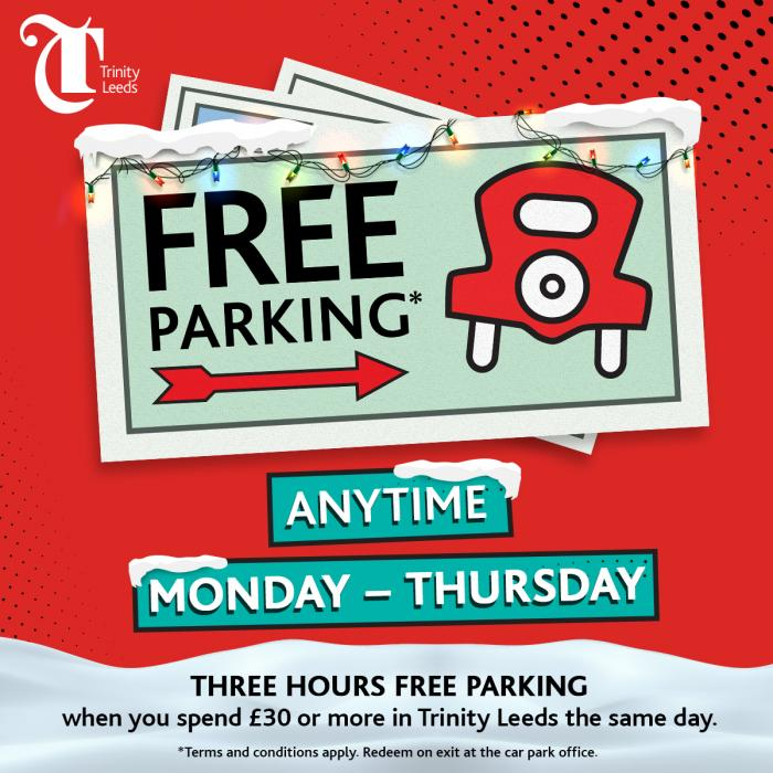 Free parking at Trinity Leeds this Christmas